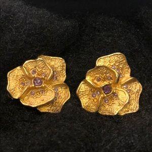 1920's Hattie Carniege flower antique earrings